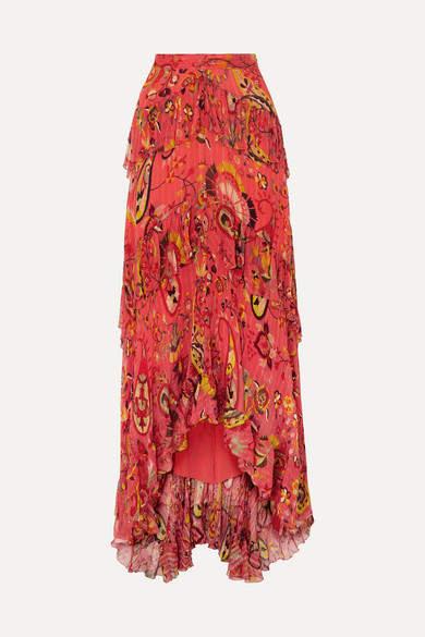 Asymmetric Ruffled Printed Silk-crepon Maxi Skirt - Red