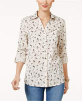 Style&Co. Style & Co Petite Cotton Bird-Print Shirt, Only at Macy's