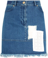 House of Holland Appliquéd Stretch-denim Mini Skirt - Mid denim