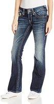 Vigoss Junior's Chelsea Heavy Stitch Dark Wash Bootcut Jean with Floral Pocket
