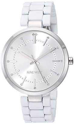 Nine West Women's NW/2303SVWT Crystal Accented Silver-Tone and White Rubberized Bracelet Watch