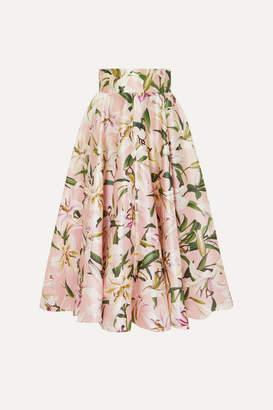 Dolce & Gabbana Floral-print Silk-satin Midi Skirt - Pink