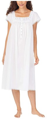 Eileen West Cotton Lawn Woven Cap Sleeve Waltz Nightgown (White) Women's Clothing