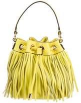 Milly Leather Fringe-Trimmed Bucket Bag