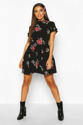 boohoo Floral Print Ruffle Neck Smock Dress