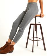 Suzanne Betro Weekend Women's Jeggings 101CHARCOAL/GREY - Charcoal Gray Herringbone High-Waist Crop Leggings - Women & Plus