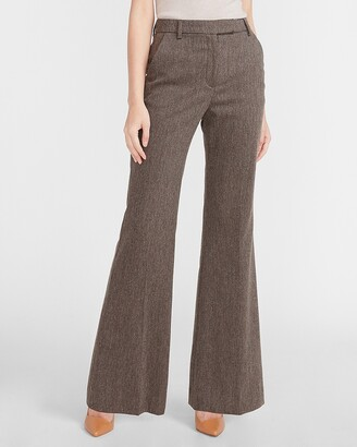 Express Super High Waisted Button Tab Flannel Flare Pant