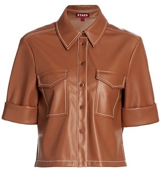 STAUD Rue Faux Leather Top