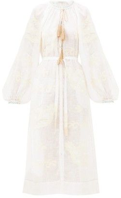 Vita Kin - Parrot Appliqued-linen Dress - Womens - White