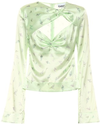 Ganni Floral stretch-satin top