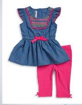 Kids Headquarters Girls 2-6x Chambray Tunic and Leggings Set