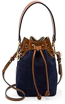 Fendi Women's Mini Mon Tresor Denim Bucket Bag