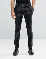 Religion Super Skinny Smart Trousers In Contrast Grid Check With Stretch