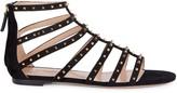 Valentino Garavani Rockstud Suede Caged Flat Sandals