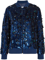 Ashish Sequined Silk-georgette Bomber Jacket - Midnight blue