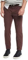 Brunello Cucinelli Flat-Front Cotton Pants, Maroon