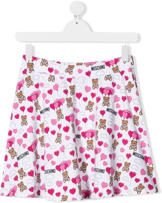 Moschino Kids TEEN Teddy Bear logo-print skirt