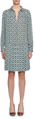 Bottega Veneta Geometric-Print Silk Drop-Waist Dress