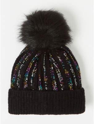 Bobble George Black Rainbow Sequin Rib Hat
