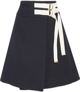 Marni Canvas-trimmed Twill Wrap Skirt - Midnight blue