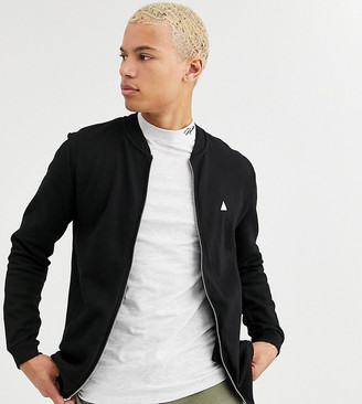 Asos Design DESIGN Tall jersey bomber jacket in black with triangle