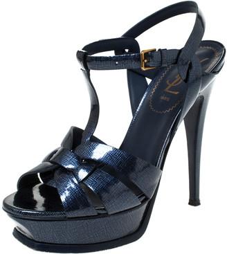 Saint Laurent Paris Dark Blue Textured Patent Leather Tribute Platform Ankle Strap Sandals Size 38