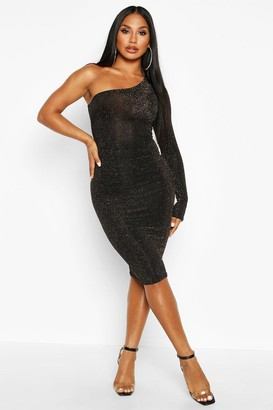boohoo One Shoulder Glitter Midi Dress