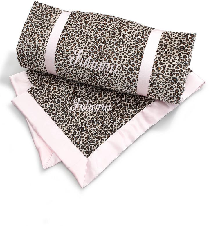 Swankie Blankie Cheetah-Print Toddler Blanket, Monogram