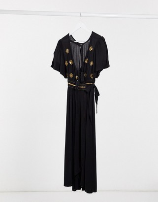 Raga Touch Of Gold embroidered wrap dress