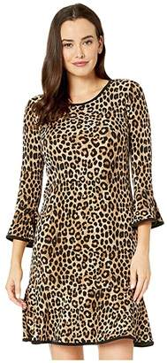 MICHAEL Michael Kors Mega Cheetah Flounce Dress (Dark Camel) Women's Clothing