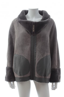 Maison Ullens Grey Leather Coat for Women