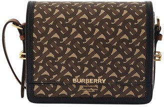Burberry Small Monogram Print E-canvas Grace Bag