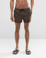 Asos Swim Shorts In Brown Short Length