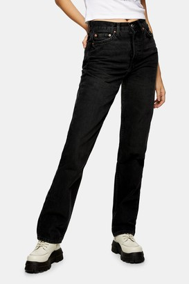 Topshop Womens Washed Black Dad Jeans - Washed Black