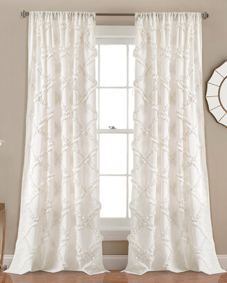 Triangle Home Fashion Ruffle Diamond Window Curtain White Set