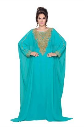 Bedis Farasha UAE Style WOMEN'SMAXI Arabic Islamic Muslim Abaya Dress Jilbab Kaftan Long Dress - Free ONE Size Emerald Green