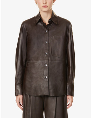 Vince Patch pocket leather shirt