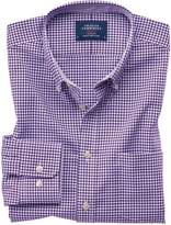Charles Tyrwhitt Classic Fit Button-Down Non-Iron Oxford Gingham Purple Cotton Casual Shirt Single Cuff Size Large