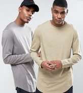 Asos 2 Pack Super Longline T-shirt In Grey/silver Marl With Curve Hem Save