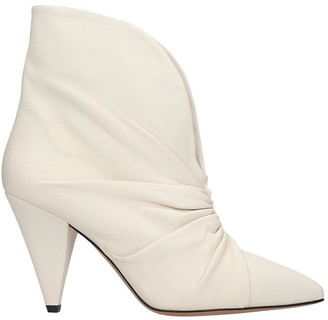 Isabel Marant Lasteen High Heels Ankle Boots In White Leather