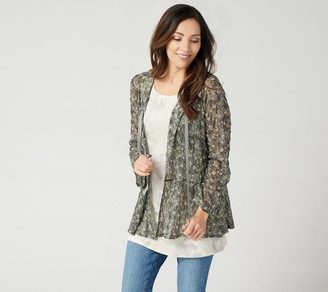 Logo by Lori Goldstein Printed Sheer Lace Cardigan with Tie