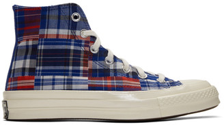 Converse Blue and Red Twisted Prep Chuck 70 High Sneakers