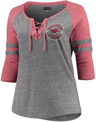 New Era Women's 5th & Ocean by Heathered Gray/Heathered Cardinal Arkansas Razorbacks Plus Size Lace-Up Raglan 3/4-Sleeve T-Shirt