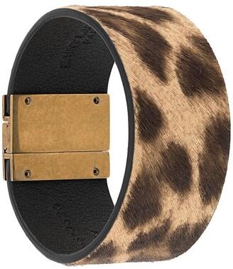 Saint Laurent Leopard Print Clasp Bracelet