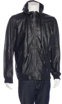 Vince Leather Hooded Jacket