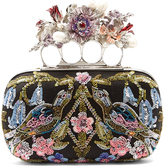 Alexander McQueen Flower-embellished satin knuckle clutch