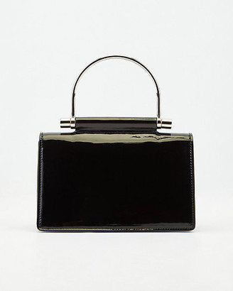 Le Château Patent Faux Leather Top Handle Clutch