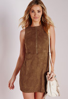 Missguided Faux Suede Zip Front Shift Dress Tan