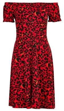 Dorothy Perkins Womens Cheetah Print Fit And Flare Cotton Blend Dress
