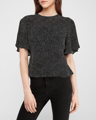 Express Dot Print Cinched Waist Top